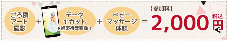 ごろ寝アート撮影+データ1カット(携帯待受画像)+ベビーマッサージ体験=参加料2,000円!(税込)